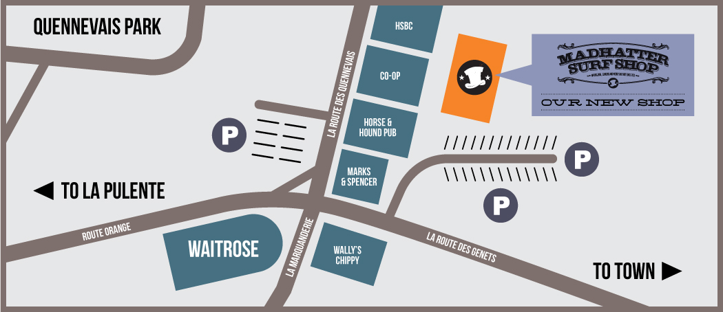 Madhatter Surfboard Warehouse - Location Map